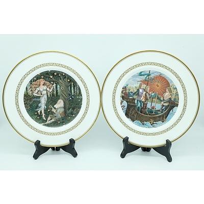Set of 6 Royal Worcester King Arthur Plates Collection