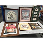 Framed Embroideries and Offset Prints - Lot of Twenty