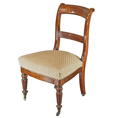French Mahogany Bar Back Side Chair with Fluted Legs Late 19th Century
