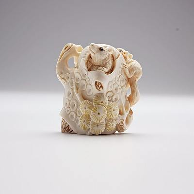 Carved Ivory Squirrel Group, a Netsuke or Toggle