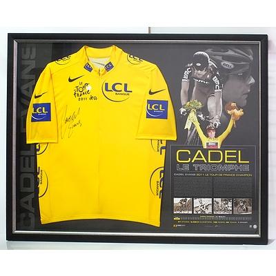 Cadel Evans Tour de France Framed Signed Jersey