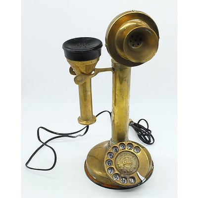 Antique Style Brass Candlestick Telephone