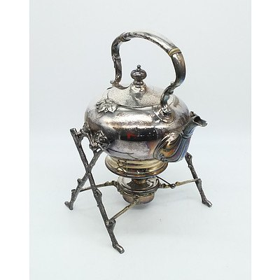 Vintage Silver Plate Spirit Kettle with Stand
