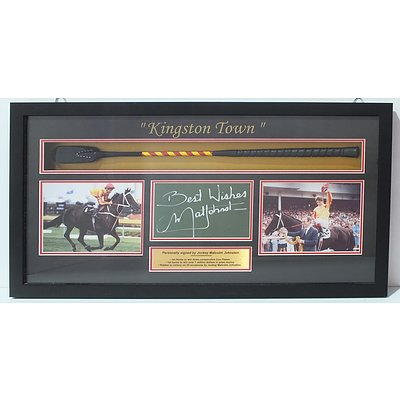 Kingston Town Whip and card signed by Malcolm Johnston