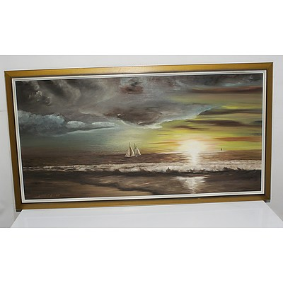 D.W Cranch Sailing Boat into Cloudy Sunset Oil on Board