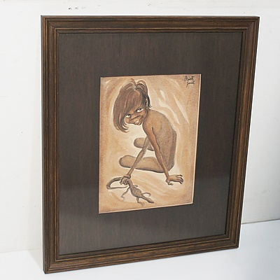 Elizabeth Durack (1915-2000) Aboriginal Boy with Lizard, Watercolour and Dyeline