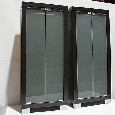 Pair of Laminate and Frosted Glass CD and DVD Cabinets
