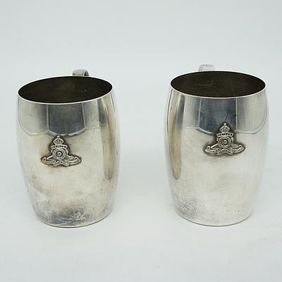 Two Vintage Silver Plate Australian Artillery Monogrammed Steins