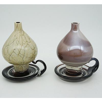 Two Danube Art Glass Oil Lamps