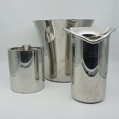 Mepra Stainless Steel and Jaguar Chrome Plated Wine Coolers and Avant Garde Ice Bucket