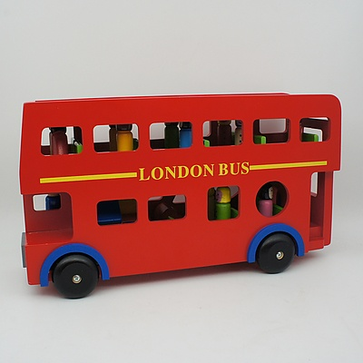 Wooden London Bus with Passenger and Blocks