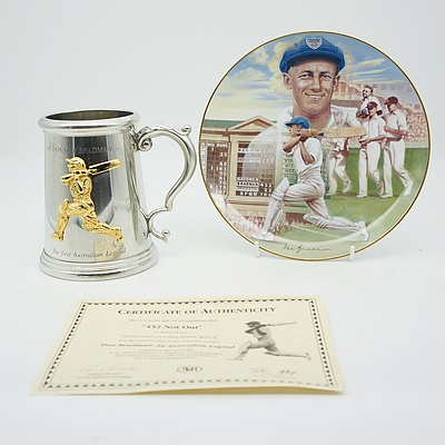 Sir Donald Bradman Commemorative Pewter Beer Stein and 452 Not Out Fine Porcelain Plate