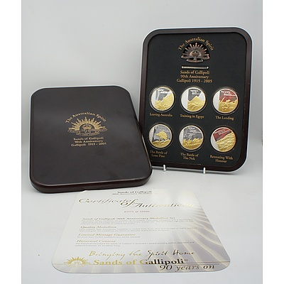 2005 90th Anniversary Set of Five Limited Edition Sands of Gallipoli Medallions