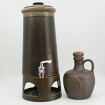 Elischer HB Wines Stoneware Brown Jug and Stoneware Mikasa Dispenser on Stand