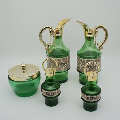 Italian Centrepiece Coloured Glass Condiment Set