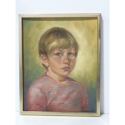 Cynthia Hundleby (1936 -) Portrait of a Boy Oil on Board