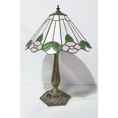 Tiffany Style Lamp with Brass Stand