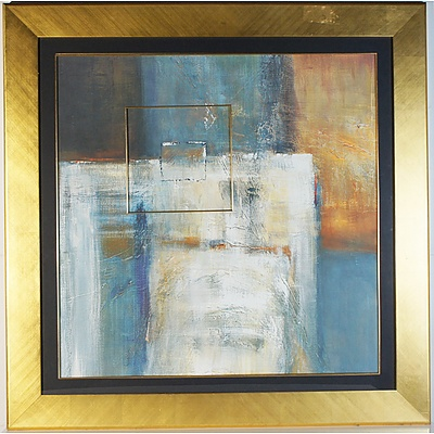 Large Abstract Offset Print in Gold Frame