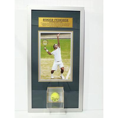 Roger Federer Signed and Framed Tennis Ball
