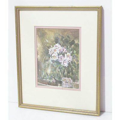 Peter White (Working 1980's) Floral Still Life Watercolour