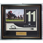 Black Caviar Framed and Signed Replica Saddle Cloth and Riding Crop
