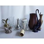Assorted Homeware Decorations Including Vase, Scupltures, and Scrolls