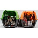 Two Travel pet Cages and Assortment of Bird Accessories