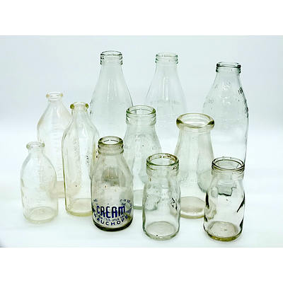 Group of Vintage Milk, Cream and Baby Bottles