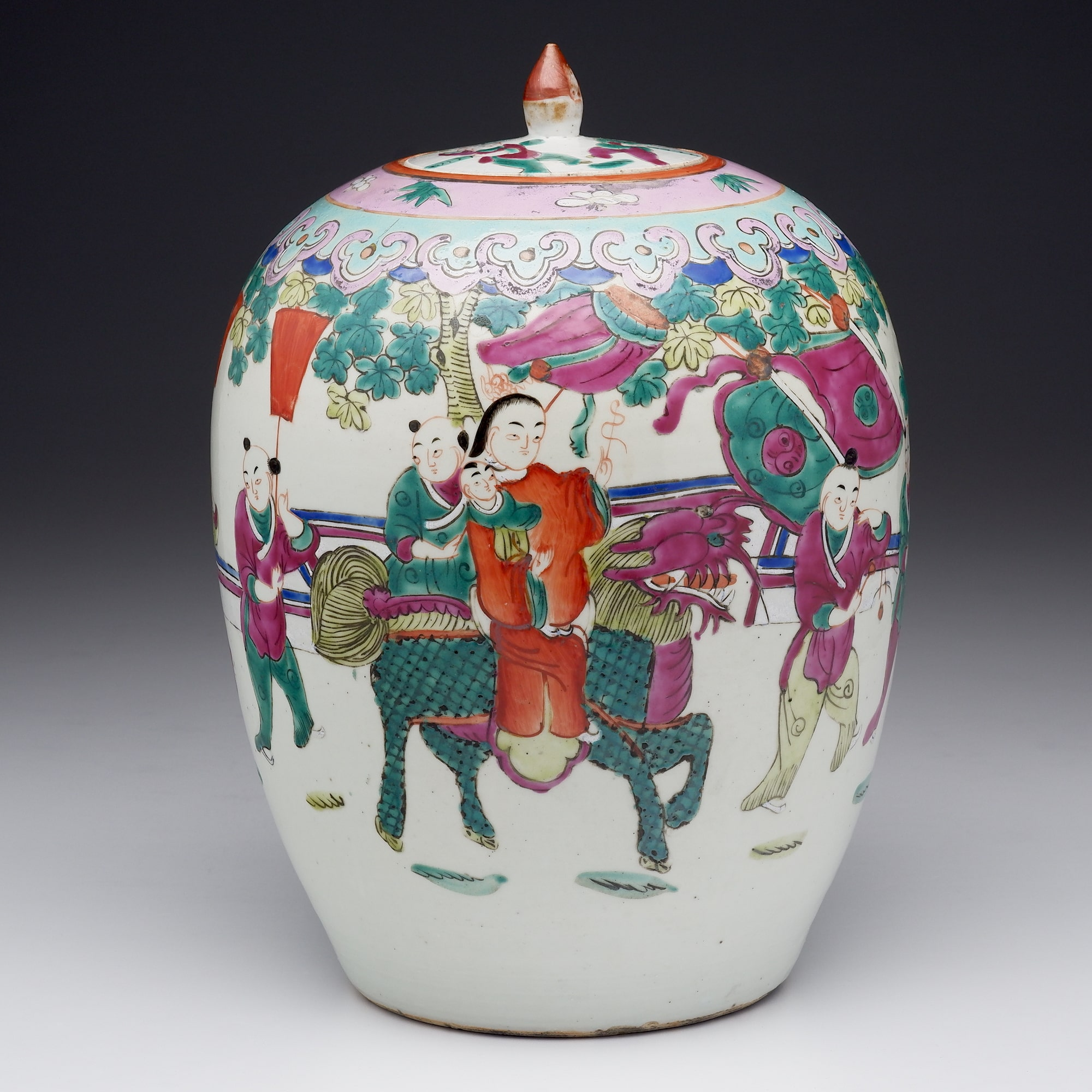 'Antique Chinese Cantonese Famille Rose Large Jar, Early 20th Century'