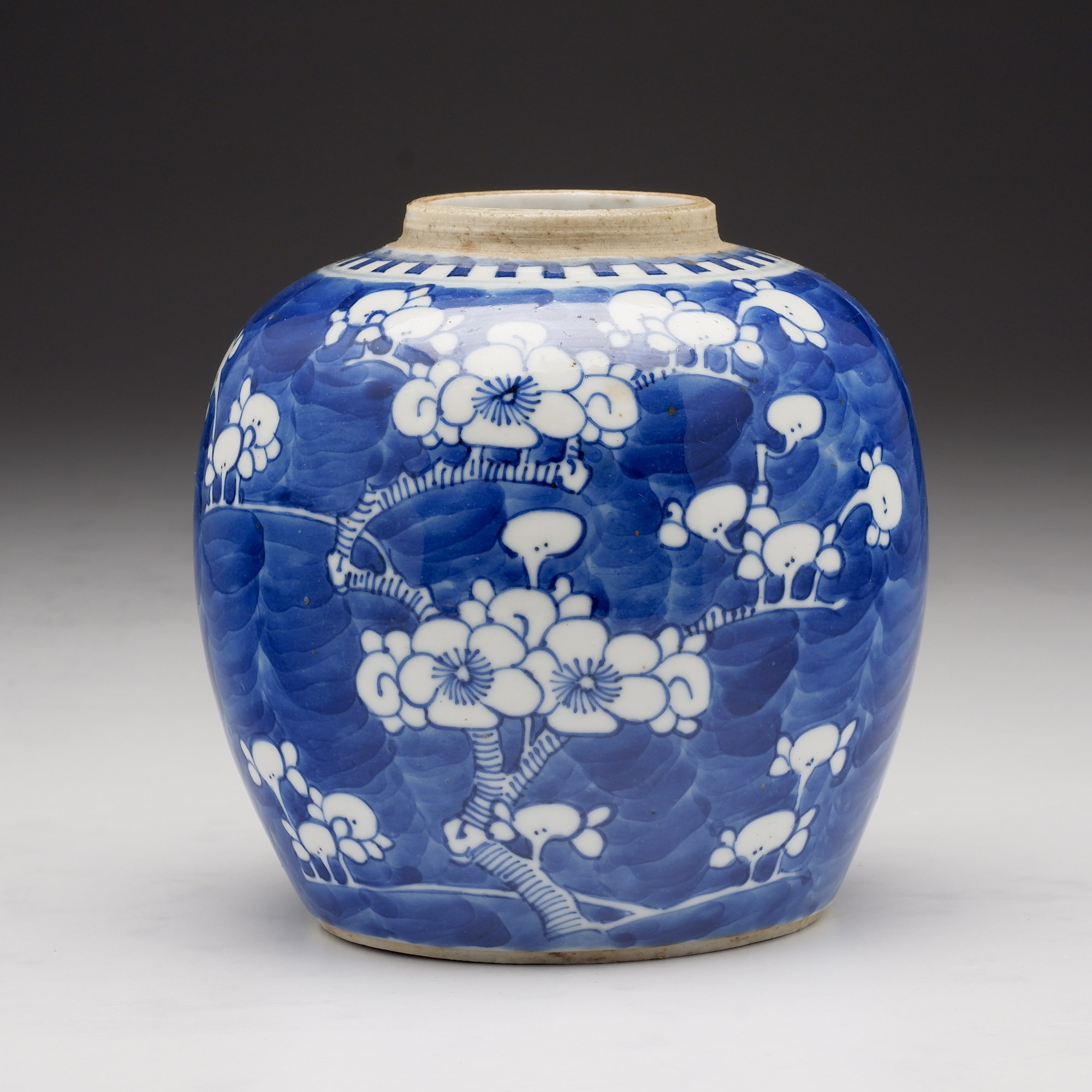 'Antique Chinese Blue and White Ginger Jar Decorated with Prunus, 19th Century'