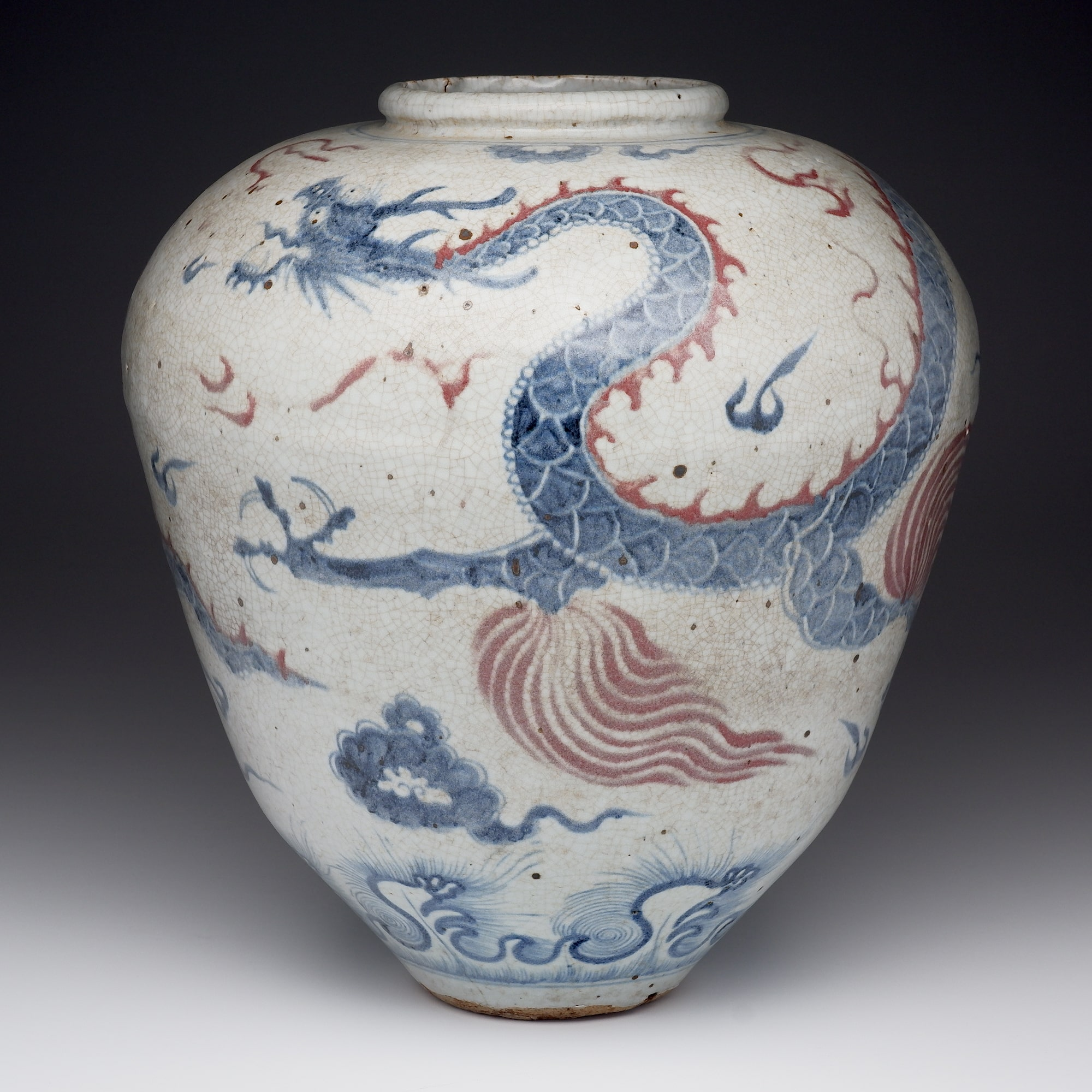 'Very Large Chinese Blue and Copper Red Dragon Jar'
