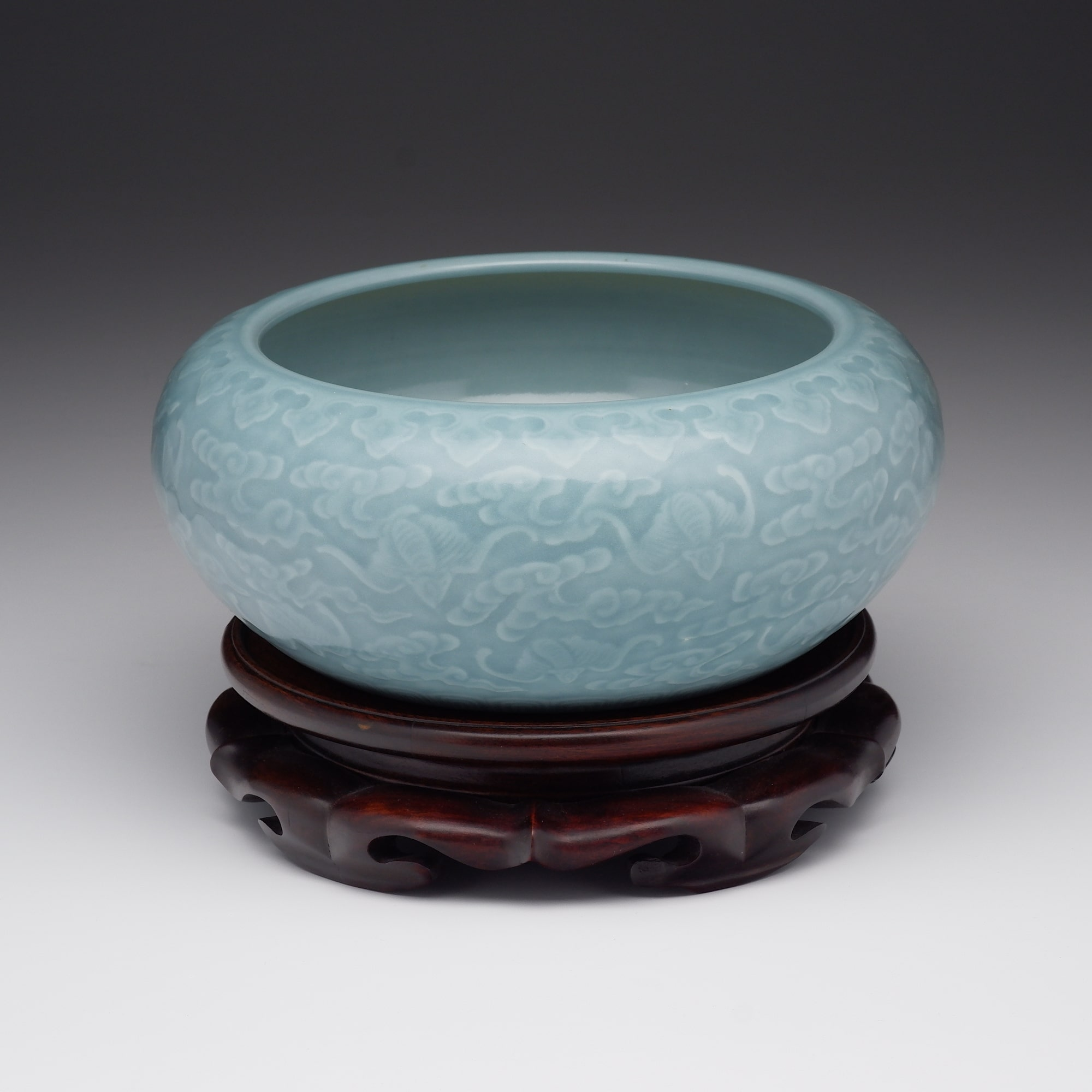 'Large Chinese Claire de Lune Glaze Brush Washer with Carved Decoration of Bats in Clouds, Late Qing'