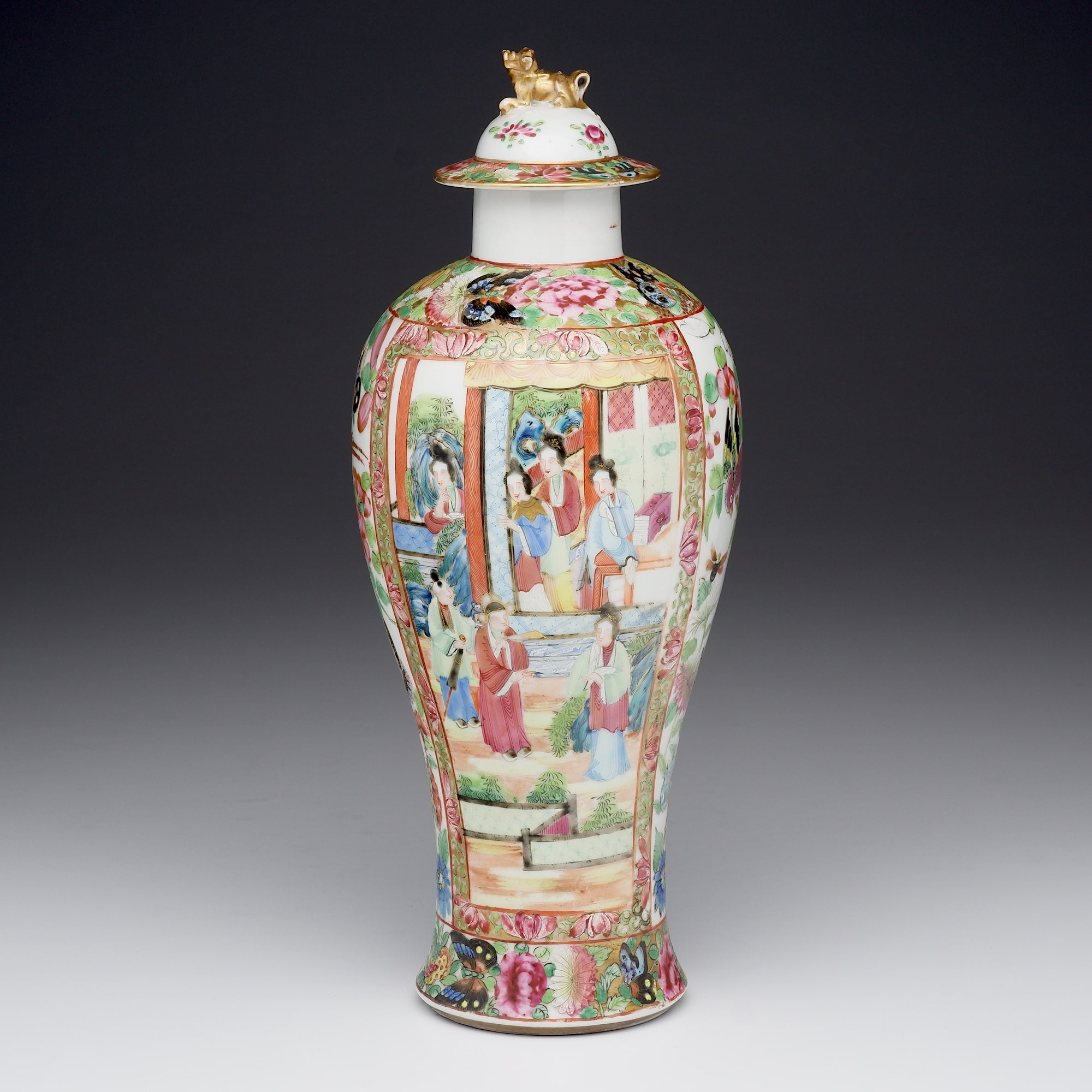 'Large Antique Chinese Export Famille Rose Vase and Cover, Late 19th Century'