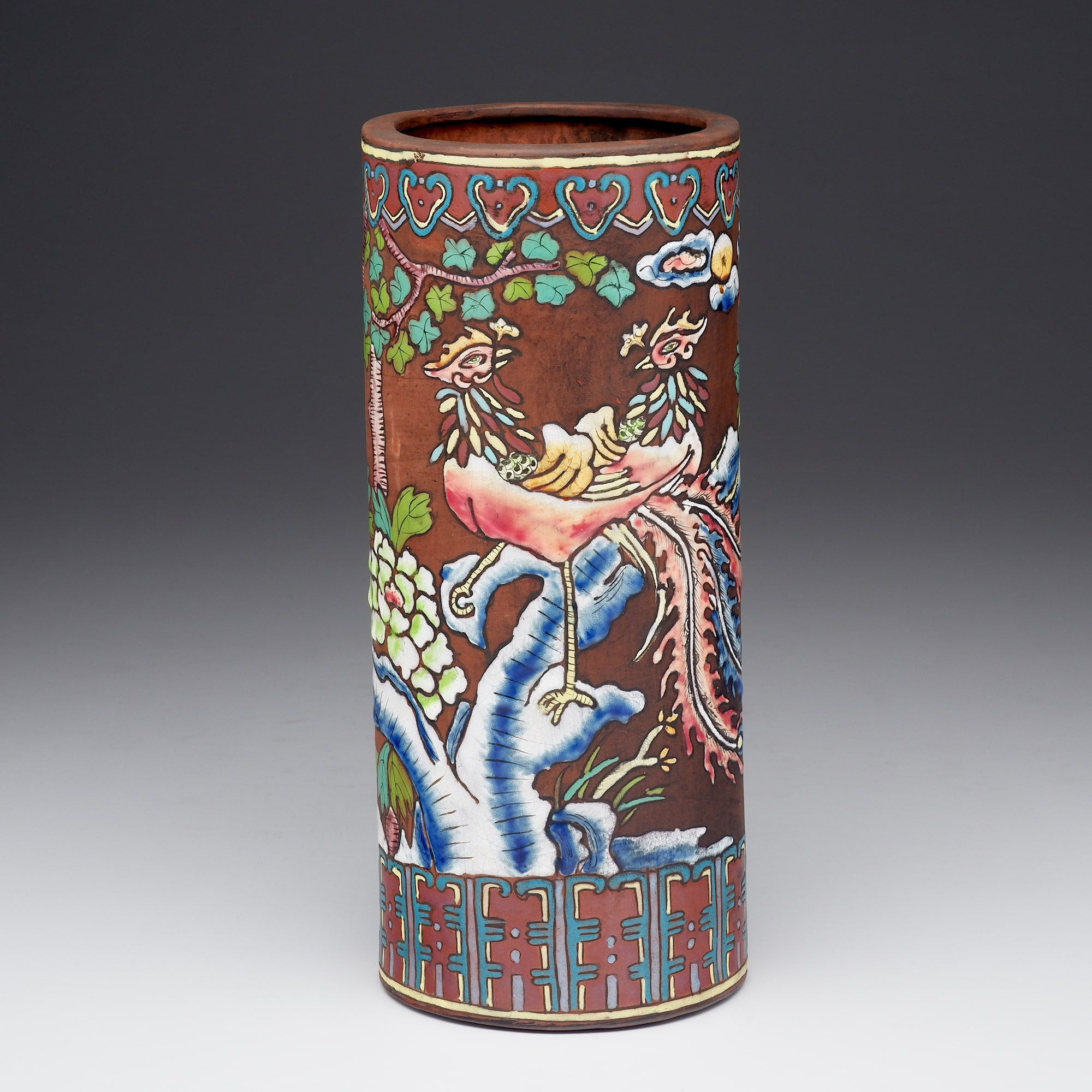'Chinese Redware Yixing Pottery Hat Stand Enamelled with Pheasants, Early to Mid 20th Century'