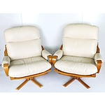 Pair of Tessa Copenhagen XL Swivel Chairs with White Leather Upholstery
