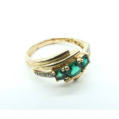9ct Yellow Gold Ring with Created Emerald and Two Small Diamonds