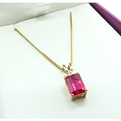 9ct Yellow Gold Synthetic Ruby Pendant and Chain