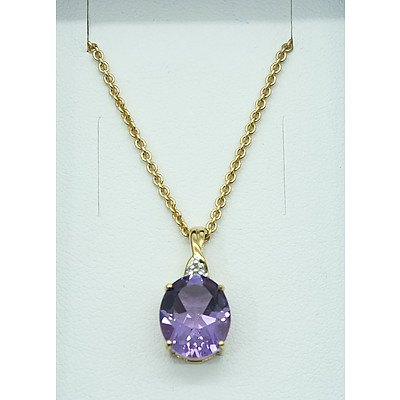9ct Yellow Gold Amethyst Pendant and 9ct Yellow Gold Chain