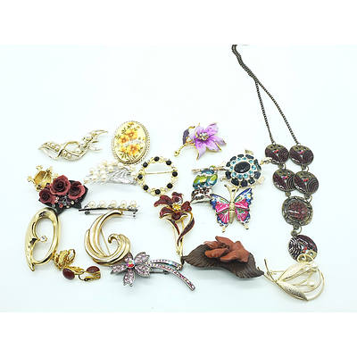 Fourteen Brooches, Two Pairs of Clip Earrings and a Brass and Enamel Necklace