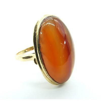 18ct Yellow Gold Ring Oval Carnelian Agate Cabochon