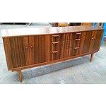 Retro 1960s Lowline Walnut Veneer Sideboard