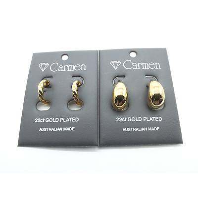 Two Pairs of Carmen 22ct Gold Plated Earrings