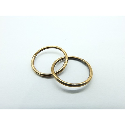 9ct Yellow Gold Earrings Plain Round Sleepers