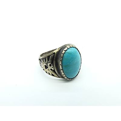 Sterling Silver Ring with Cabouchon Imitation Turquoise