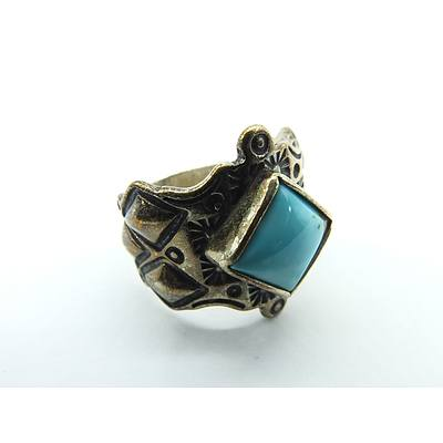 Ornate Sterling Silver Ring with Square Cabochon of Turquoise