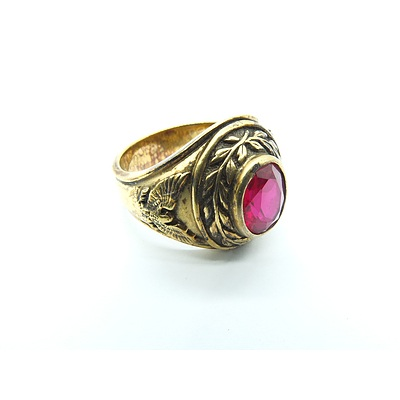 Gents Silver Gold Plated Ring with Oval Synthetic Ruby
