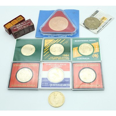 Group of Collectable Coins Including a 1984 Los Angeles Official Olympic Medallion, 1988 Five Dollar Commemorative Coin and More