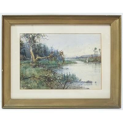 John Fullwood RA (British 1854-1931) Sailing on the River Watercolour