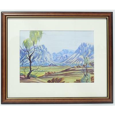 Peter Taylor Tjutjaja (Aboriginal 1940-2014) Central Australian Landscape Watercolour