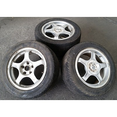 Set of 4 Speedy Wheels 15inch Rims with Dunlop Tyres